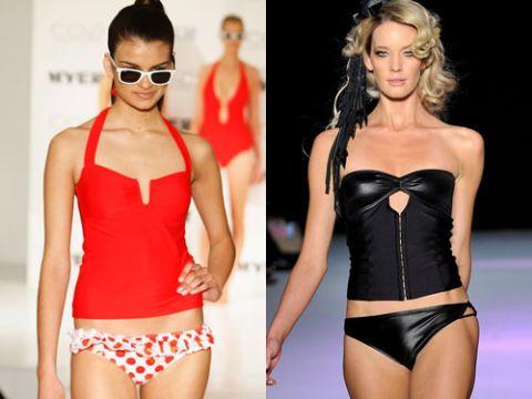 models wearing tankinis