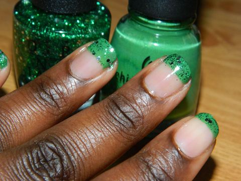 Clear Nails With Colored Tips - St. Patrick\'s Day Nails