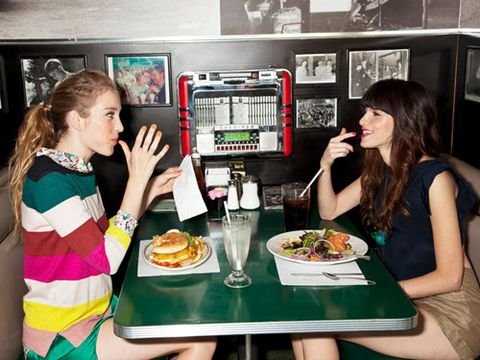 friends eating at a diner