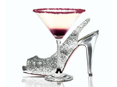 cocktail with high heel shoe
