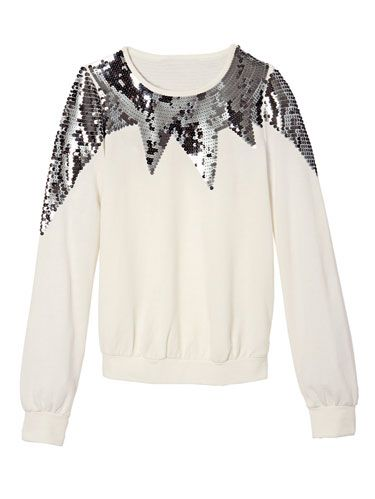 white and silver sequin sweater