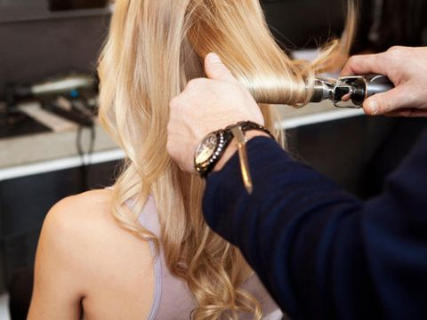hair in curling iron
