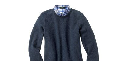 blue sweater and button down shirt