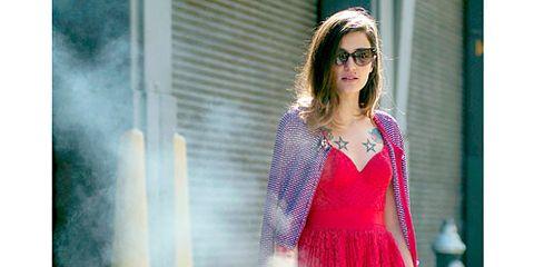 Red dress, tattoos