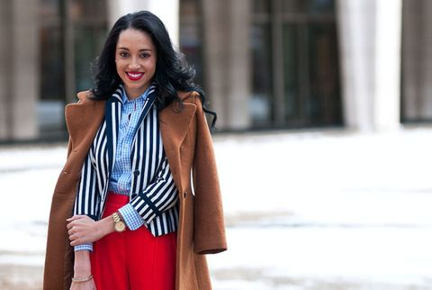 Brown coat, red pants, navy and white striped blazer