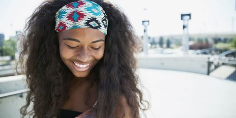 Nose, Lip, Hairstyle, Eyebrow, Hair accessory, Happy, Facial expression, Style, Black hair, Headgear,