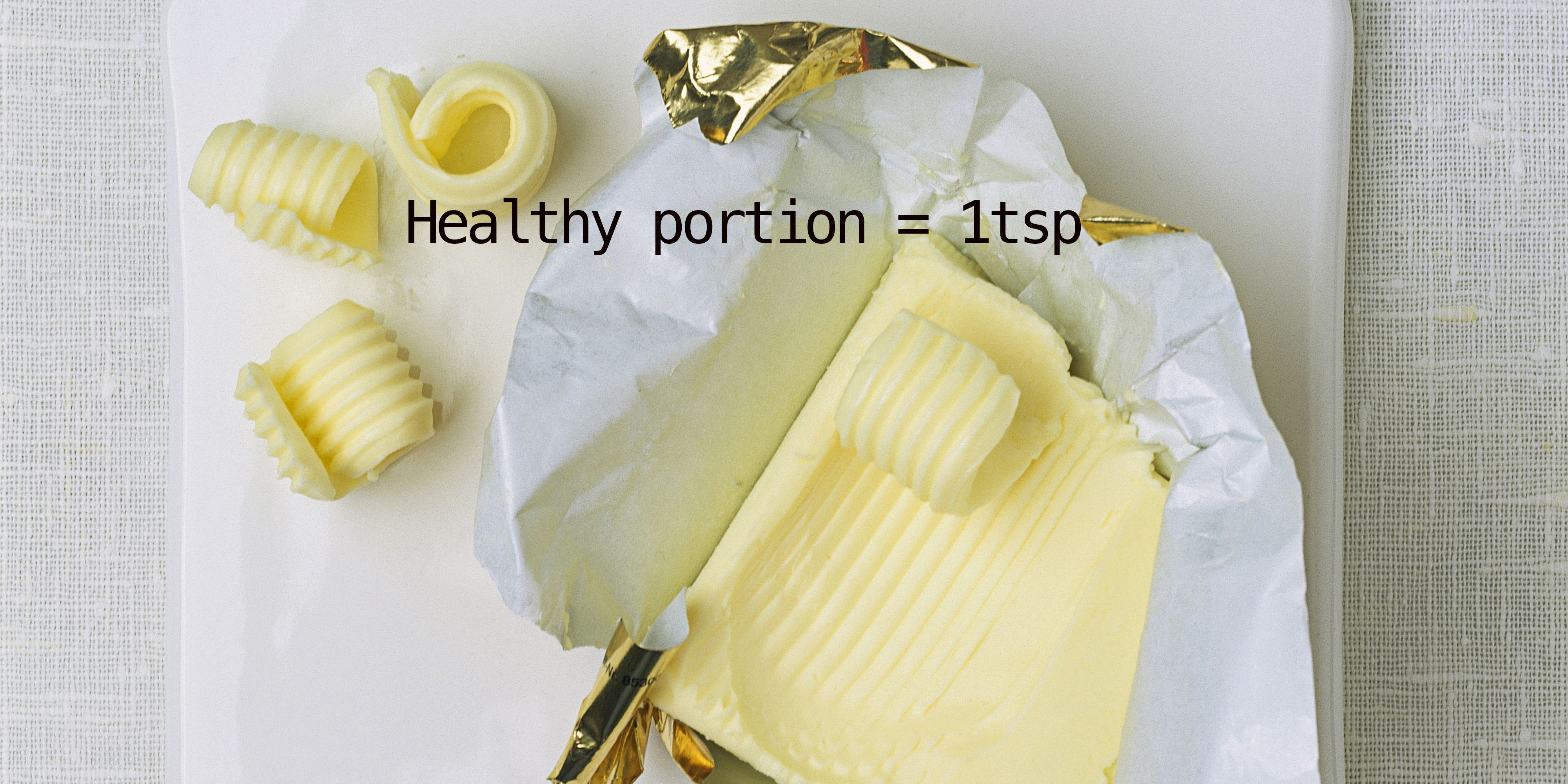 Health portion sizes for bread and butter