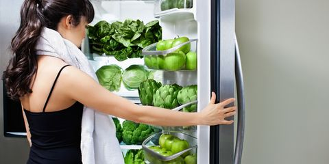 Healthy refrigerator full of fruit and veg
