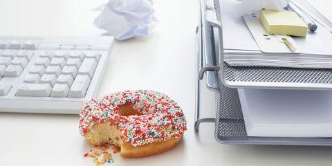 Doughnut on desk