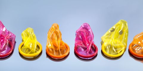 A line of colourful condoms
