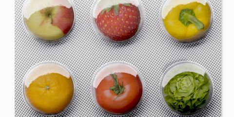 Blister pack with fruit and vegetables