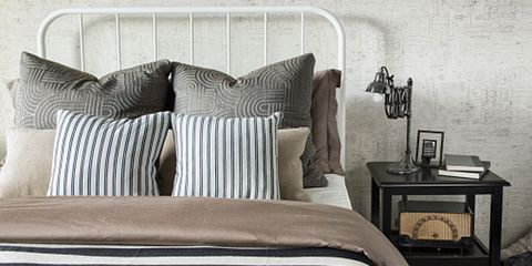 Room, Interior design, Textile, Wall, Furniture, Pillow, Linens, Cushion, Bedding, Grey,