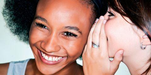 Finger, Lip, Smile, Cheek, Skin, Hairstyle, Forehead, Eyelash, Eyebrow, Jewellery,