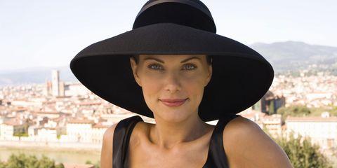 Nose, Hat, Lip, Skin, Summer, Fashion accessory, Headgear, Costume accessory, Beauty, Sun hat,