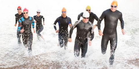 Goggles, Fun, Personal protective equipment, Recreation, Endurance sports, Wetsuit, Swim cap, Outdoor recreation, Diving equipment, Water sport,