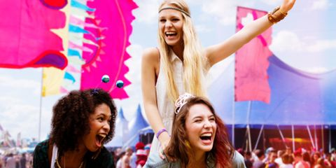 Facial expression, Fun, Pink, Happy, Smile, Friendship, Event, Blond, Laugh, Cheering,