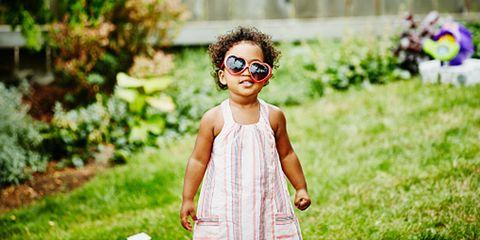 Goggles, Summer, Baby & toddler clothing, Dress, Garden, Toddler, Day dress, Sunglasses, Yard, Tartan,