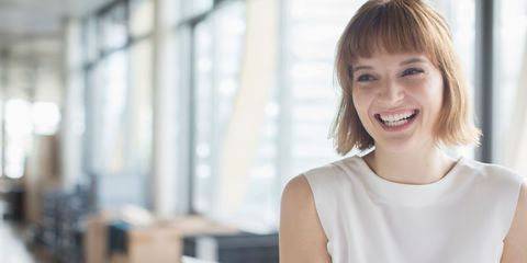 Woman smiling and happy with white teeth