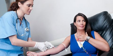 woman getting a blood test