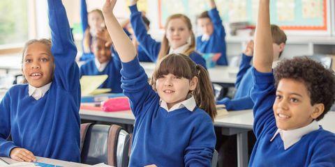 Secondary school children in classroom