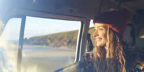 woman on holiday in campervan