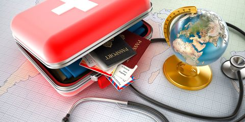 passports, globe, stephoscope, medical tourism, going abroad for medical treatment