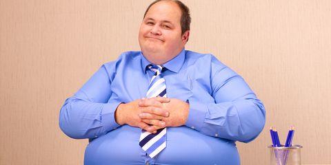 obese man at work