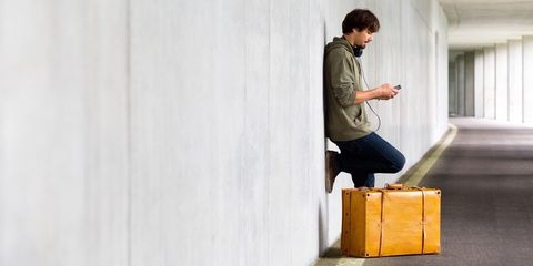 A man with his suitcase to go abroad