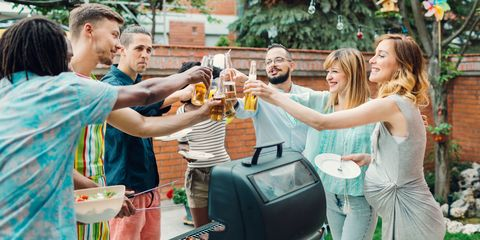 Summer BBQ pregnant woman drinking alcohol
