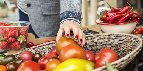 Woman shopping for healthy food and fruit
