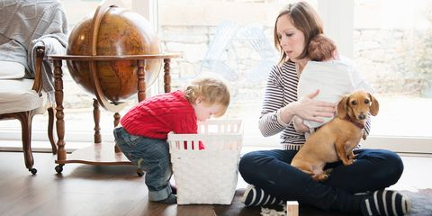 Busy mum with two kids and a dog