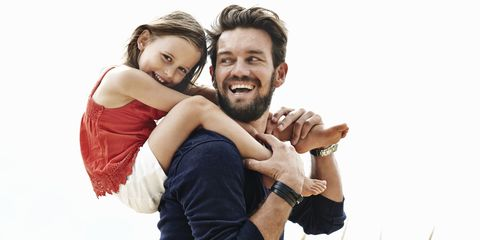 Dad and daughter laughing and happy