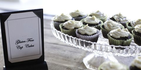 Gluten-free cupcakes with sign