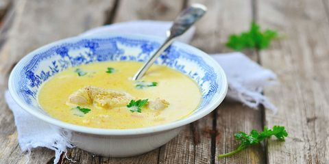 Chicken soup with mushroom and butternut