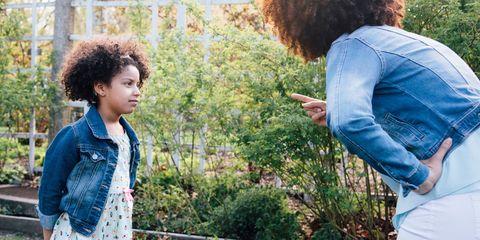 Mum scolding her daughter