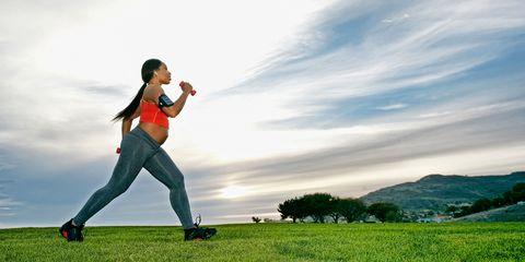 Pregnant woman exercising and walking