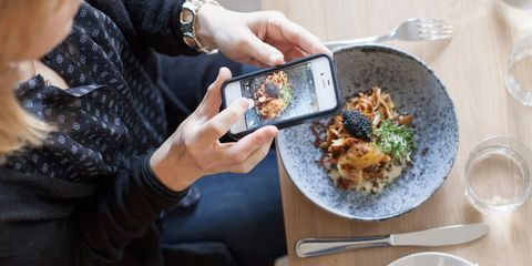 Woman taking a photo of food on her phone