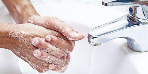 Fluid, Liquid, Nail, Plumbing fixture, Sink, Ceramic, Plumbing, Tap, Silver, Flesh,
