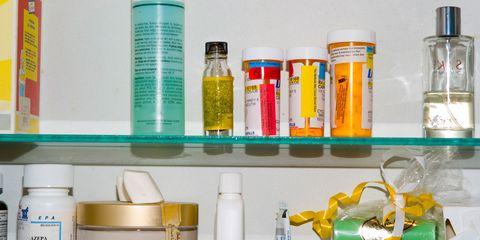 Shelf, Product, Yellow, Shelving, Bottle, Plastic bottle, Test tube, Medicine, Laboratory equipment, Liquid,