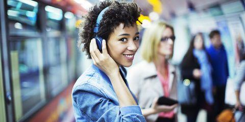 Audio equipment, Happy, Electronic device, Gadget, Black hair, Street fashion, Headset, Technology, Headphones, Hearing,