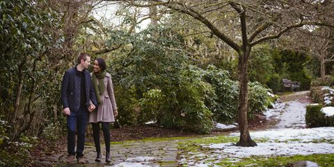 Coat, Trousers, Branch, Outerwear, People in nature, Jacket, Love, Romance, Trunk, Boot,