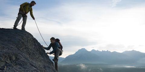 Sky, Adventure, People in nature, Outdoor recreation, Mountain, Slope, Rock, Mountaineer, Bedrock, Mountaineering,