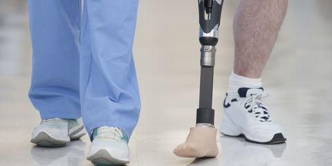 Footwear, Blue, Human leg, Joint, White, Sock, Grey, Knee, Safety glove, Calf,