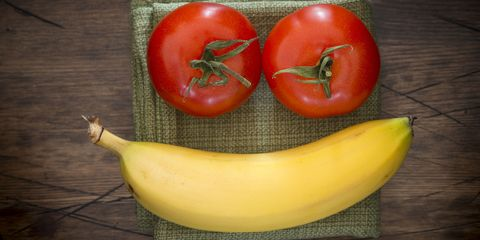 Tomatoes and banana smiley face
