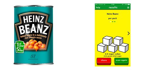 Sugar content in Heinz Beanz using Sugar Smart app