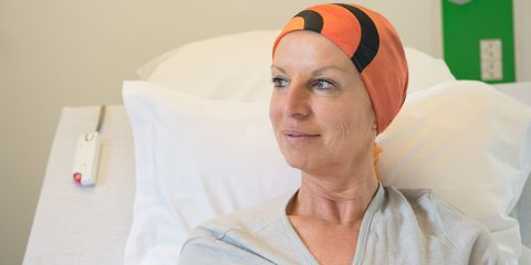 Woman in hospital having chemotherapy