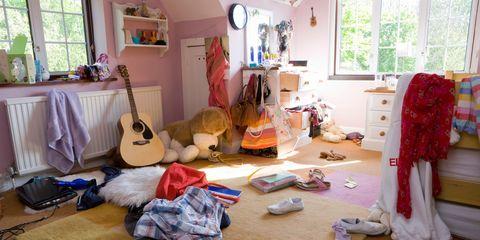 Messy teenage girl's bedroom
