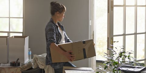 moving house woman with boxes