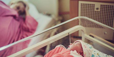 Newborn baby and mum in hospital