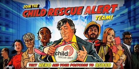Stephen Fry in the promotional video for Child Rescue Alerts to save missing children. He is dressed like a comic book hero.